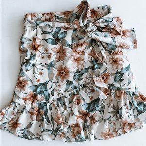 J.O.A. Ruffle Skirt with Waist Tie